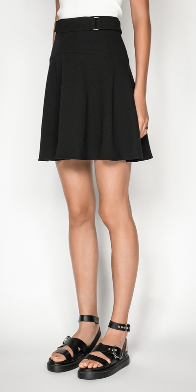 Skirts  | Crepe Fluted Hem Mini Skirt