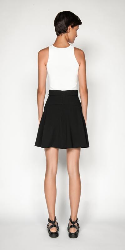 Skirts | Crepe Fluted Hem Mini Skirt