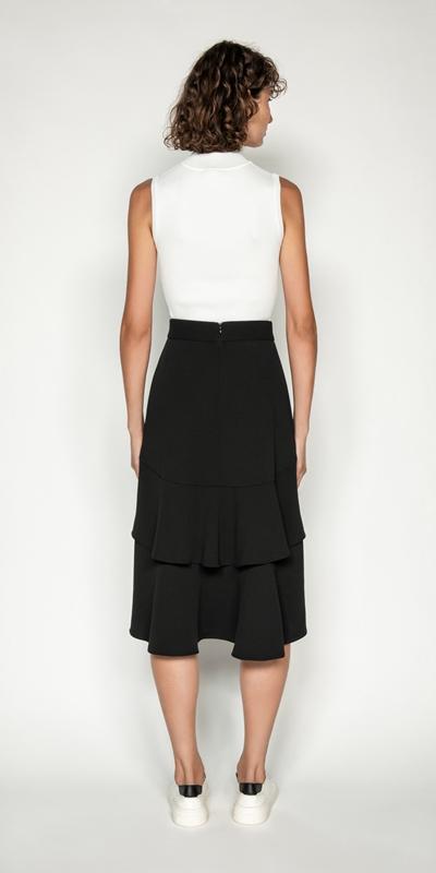 Skirts   Tiered Frill Midi Skirt