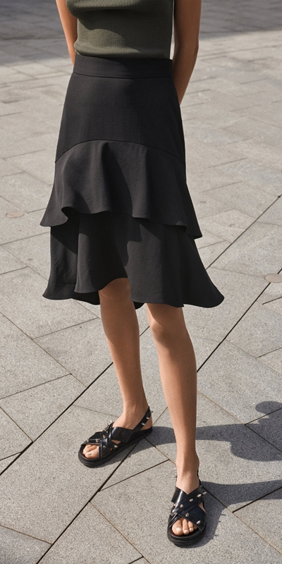 Skirts  | Tiered Frill Midi Skirt