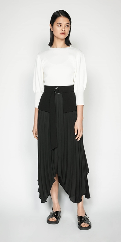 Sale | Pleated Peplum Midi Skirt