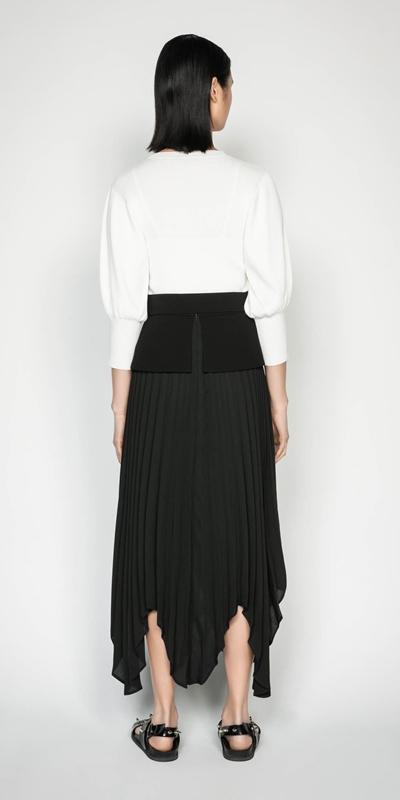 Skirts | Pleated Peplum Midi Skirt
