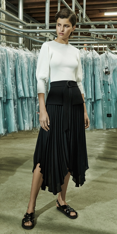 Wear to Work  | Pleated Peplum Midi Skirt
