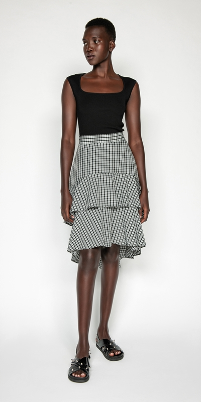 Skirts | Check Tiered Frill Midi Skirt