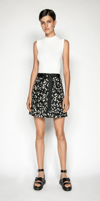 Skirts | Belted Animal Mini Skirt
