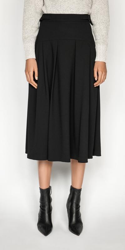 Skirts  | Crepe Buckled Waist Midi Skirt