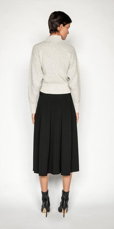 Skirts   Crepe Buckled Waist Midi Skirt