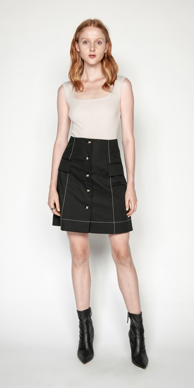 Sale | Cotton Button Front Mini Skirt