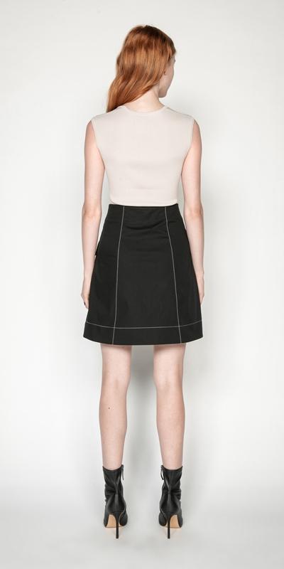 Skirts | Cotton Button Front Mini Skirt