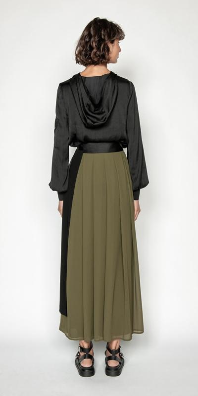 Skirts   Pleated Georgette Maxi Skirt