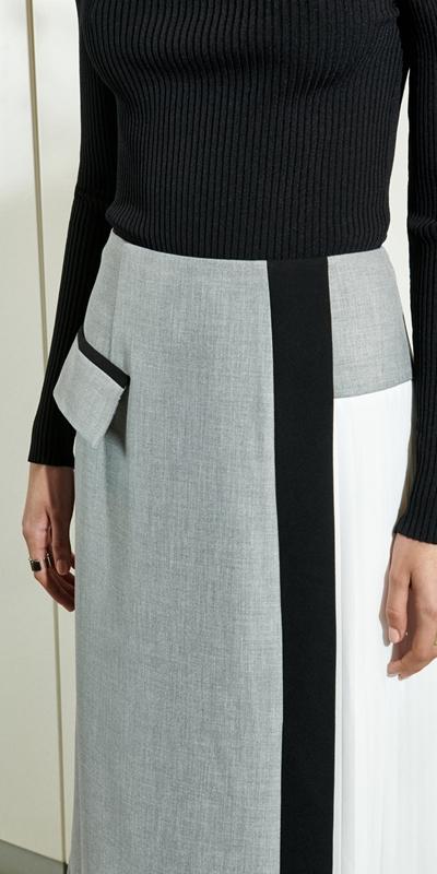 Skirts  | Grey Melange Pleated Midi Skirt