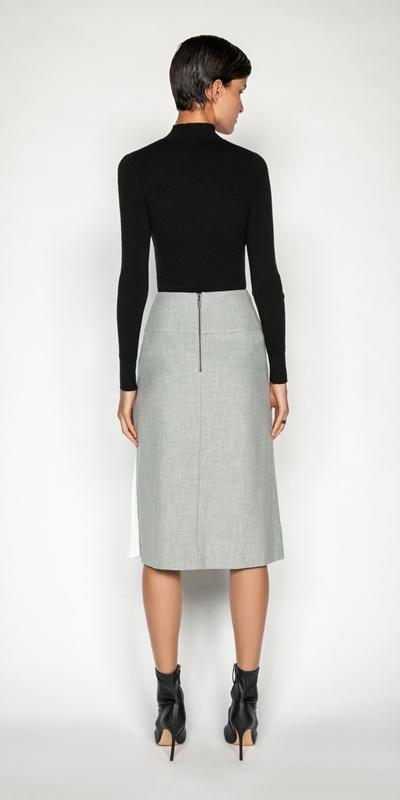 Skirts   Grey Melange Pleated Midi Skirt