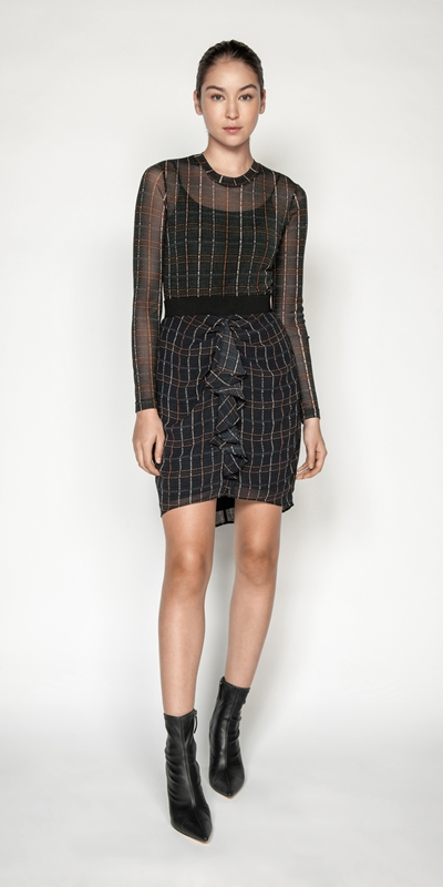 Skirts | Sheer Georgette Check Frill Skirt