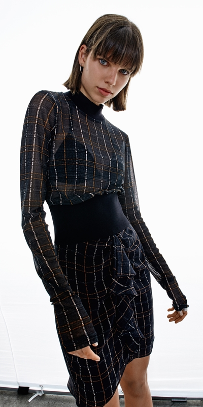 Skirts | Sheer Georgette Check Frill Skirt