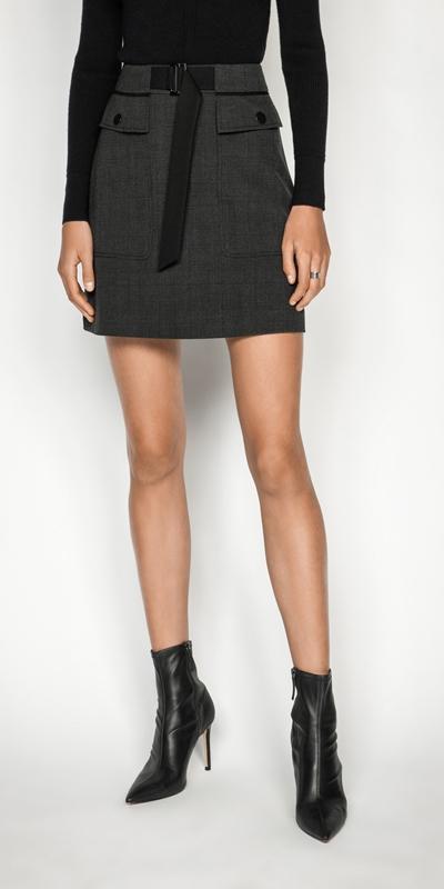 Skirts   Melange Viscose Check Mini