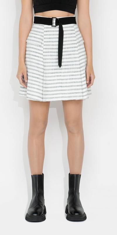 Sale  | Stripe Tweed Belted Mini Skirt