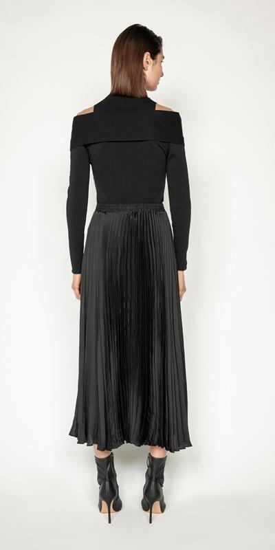 Skirts | Satin Pleat Midi Skirt