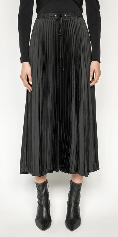 Sale  | Satin Pleat Midi Skirt