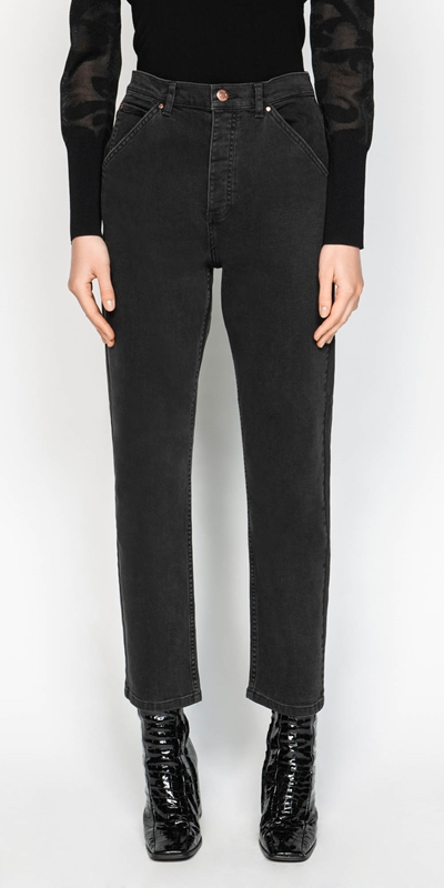Pants | Washed Black Straight Leg Jean