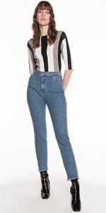Pants   High Waist Slim Leg Jean