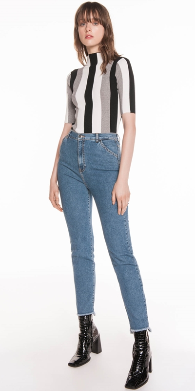 Pants | High Waist Slim Leg Jean
