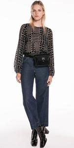 Pants   Organic Cotton High Waist Crop Wide Leg Jean