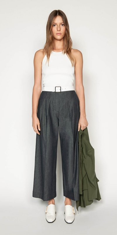Sale | Topstitched Waist Tuck Trousers