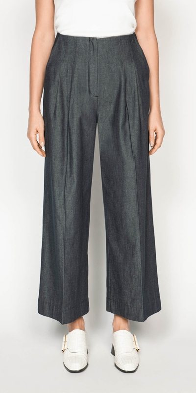 Pants  | Topstitched Waist Tuck Trousers