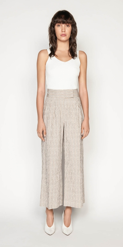 Pants | Crinkle Stripe Wide Leg Pant