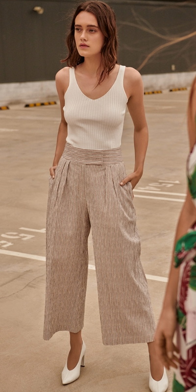 Outlet  | Crinkle Stripe Wide Leg Pant