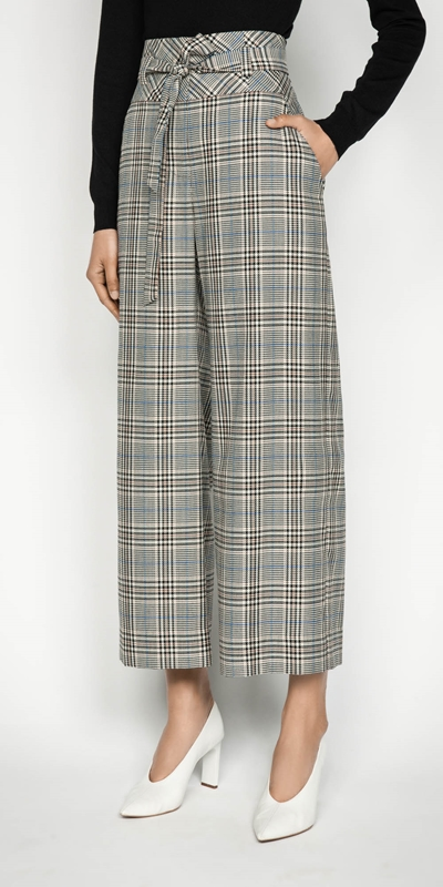 Pants | Belted Cropped Wide Leg Pant