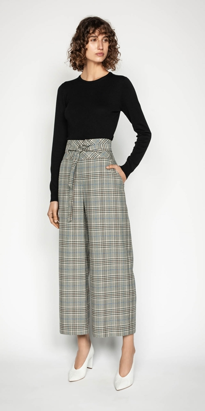 Wear to Work | Belted Cropped Wide Leg Pant