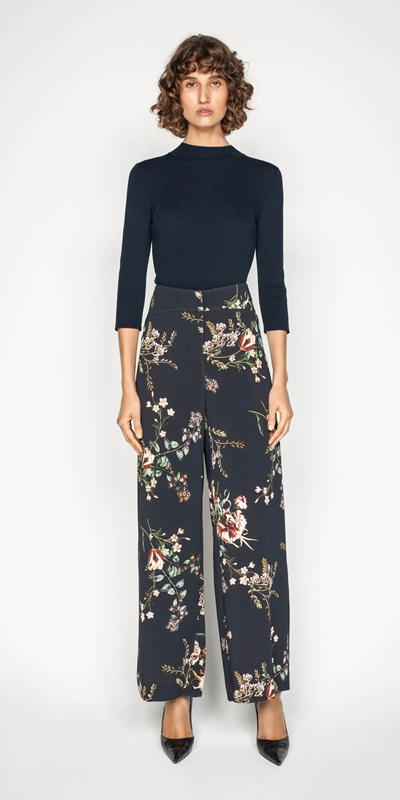 Sale | Golden Floral Wide Leg Pant