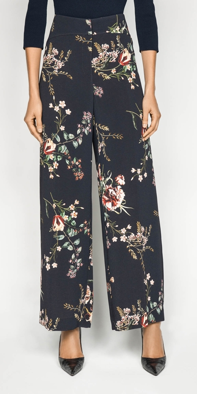 Wear to Work  | Golden Floral Wide Leg Pant