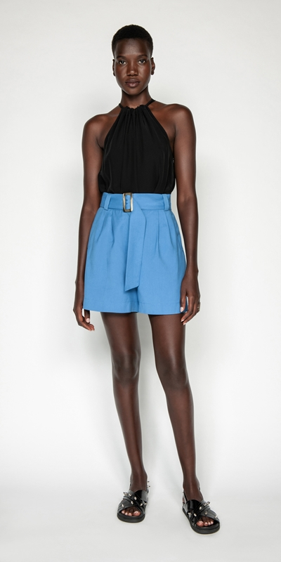 The Party Edit | Belted Twill Short