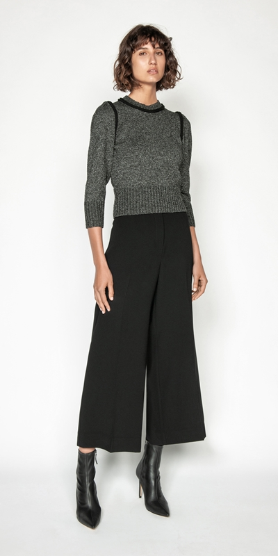 Pants | Crepe Buckled Waist Wide Leg Pant