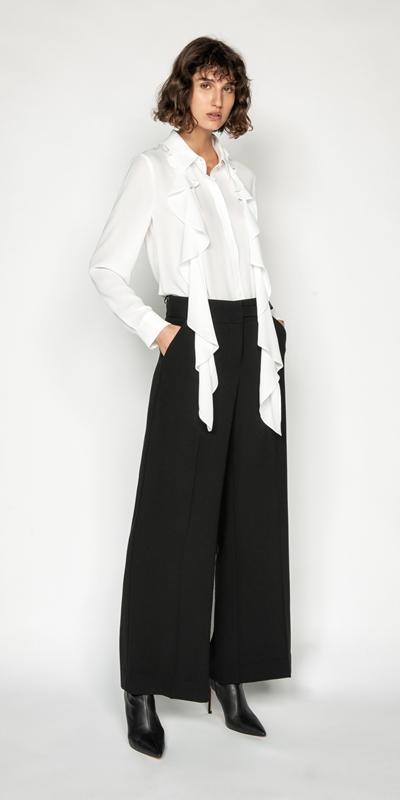 Pants | Crepe Snap Front Wide Leg Pant
