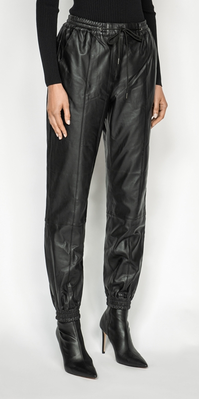 Cue Cares - Sustainable  | Leather Track Pant