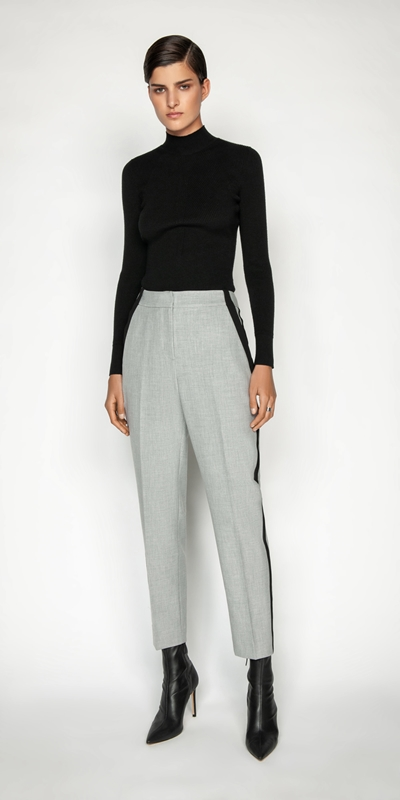 Sale | Grey Melange Striped Relaxed Pant