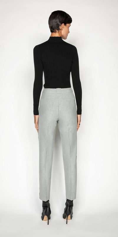 Pants | Grey Melange Striped Relaxed Pant