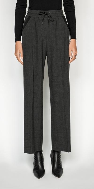 Pants  | Melange Viscose Check Wide Leg Pant