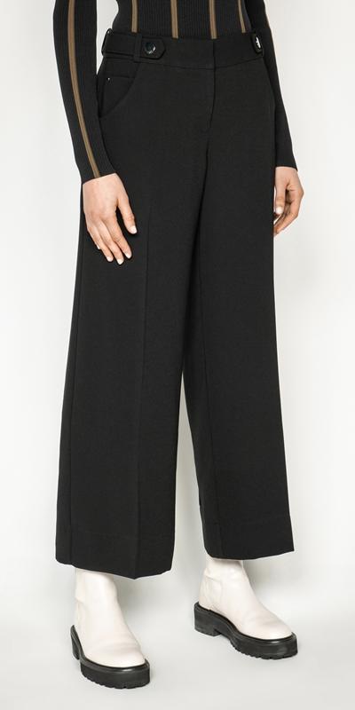 Pants | Topstitched Wide Leg Pant