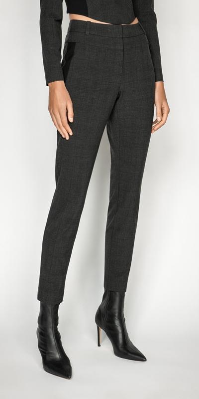Sale  | Melange Viscose Check Skinny Leg Suit Pant