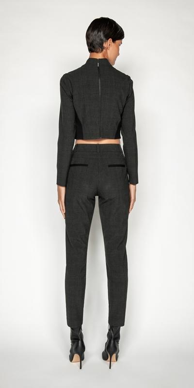 Pants | Melange Viscose Check Skinny Leg Suit Pant