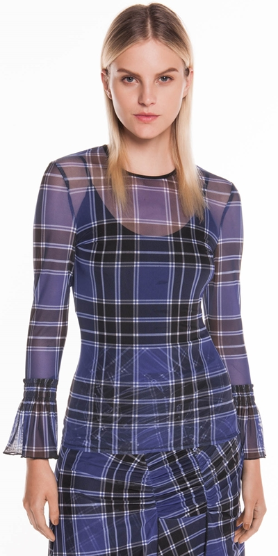 Tops | Tartan Mesh Shirred Cuff Top