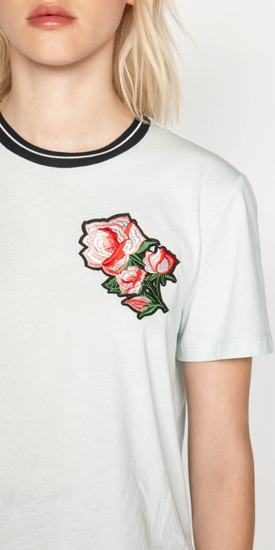Tops | Embroidered Rose Tee