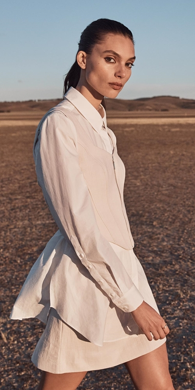 S20 Campaign  | Ecru Cotton Linen Corset