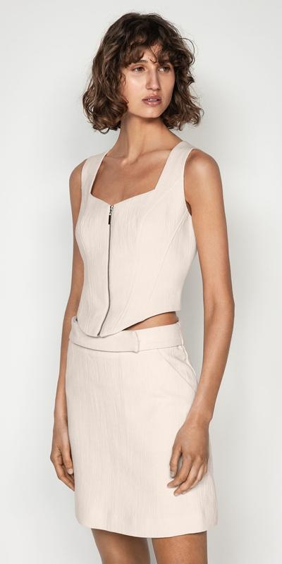 Tops | Ecru Cotton Linen Corset