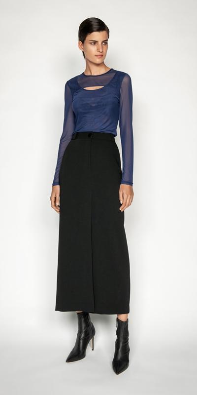 Tops and Shirts | Cobalt Mesh Layered Body Top