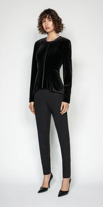 Jackets | Velvet Zip Front Peplum Jacket